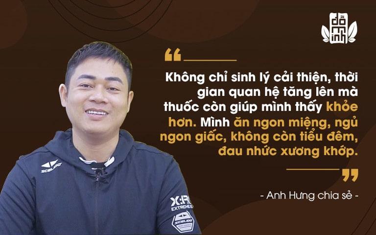 Chia sẻ của anh Hưng về hiệu quả dùng thuốc tại Đỗ Minh Đường